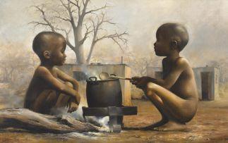 Harold Voigt; Two Children Around the Pot
