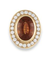 Madeira citrine and diamond dress ring