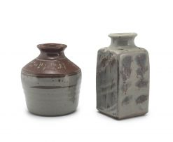 Hyme Rabinowitz; Stoneware Cannister and a Vase