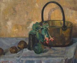 Florence Zerffi; Still Life with Fuchsia Blossoms and a a Brass Jam Boiler