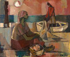 Maurice van Essche; Preparing The Nets, Dusk