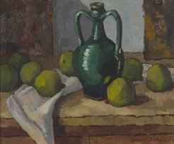David Botha; Still Life with Jar and Apples