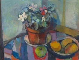 Herbert Coetzee; Pot Plant and Fruit in Bowl