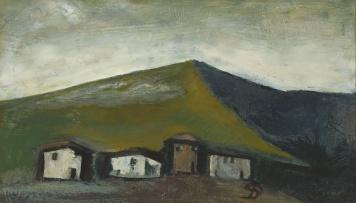 Pranas Domsaitis; Four Cottages against a Mountain