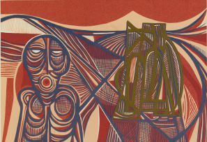 Cecil Skotnes; Figure in a Landscape (Red and Blue)