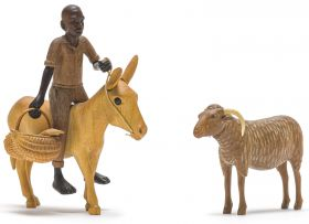 Julius Mfethe; Man with a Basket, Donkey and Goat (7 parts)