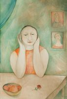Hannetjie de Clercq; Woman at a Table
