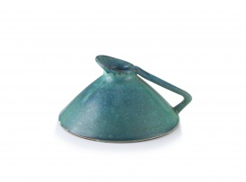A Globe turquoise-glazed earthenware jug