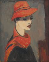 Maurice van Essche; Portrait of a Woman wearing a Red Hat and Scarf