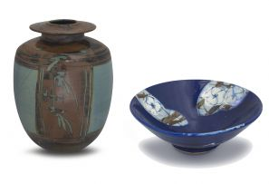 Bruce Walford and Walford Studio; Ovid Vase; Panels of Stylised Peonie Bowl