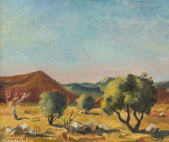Maurice van Essche; Landscape with Distant Mountains