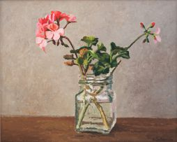 Ben Coutouvidis; Glass Bottle with Pink Pelargoniums