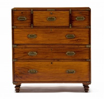 A teak and brass-bound secrétaire campaign chest-on-chest, late 19th/early 20th century