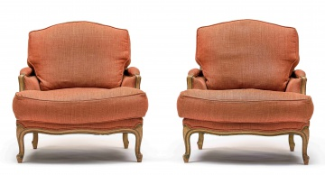 A pair of Louis XVI style painted and upholstered armchairs, modern