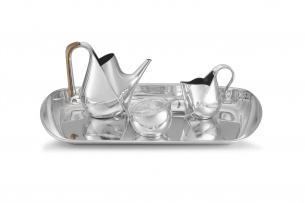 An Italian silver electroplated 'Piazza' coffee service designed by Oscar Tusquets for Alessi, 1984