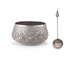 A Thai silver punch bowl, early 20th century
