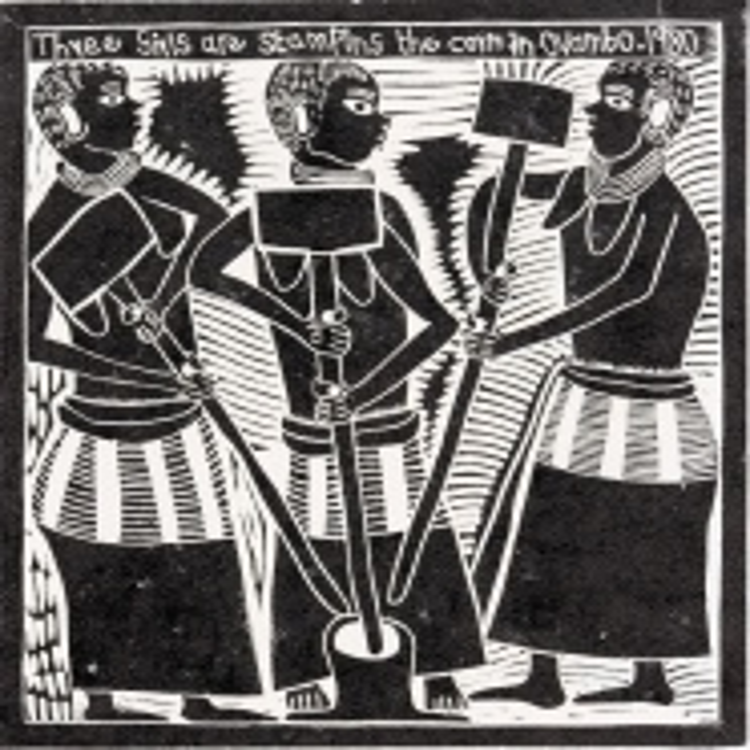 John Muafangejo; Three Girls are Stamping the Corn in Ovambo, 1980