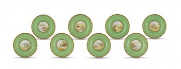 Eight Copeland Spode ornithological cabinet plates, retailed by T. Goode & Co Ltd, London, late 19th/early 20th century