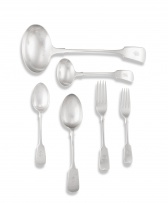 A part set of Victorian silver 'Fiddle' pattern flatware, various makers, London & Sheffield, 1893-1903