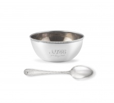 A cased George V silver 'Old English Bead' pattern bowl and spoon, with import marks for Birmingham, 1906, .925 sterling