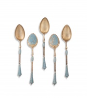 Five David Andersen Christiania turquoise and white enamel silver-gilt coffee spoons, late 19th century