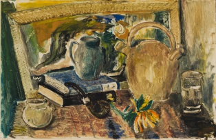 Lippy (Israel-Isaac) Lipshitz; Still Life with Books and Pipe