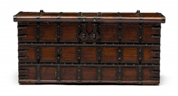 A metal-bound and fruitwood chest, 19th century