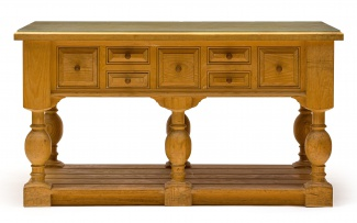 An oak and pine centre table