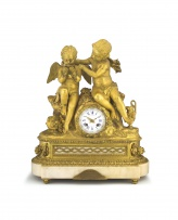 A French gilt-metal and marble-mounted mantel clock, circa 1900