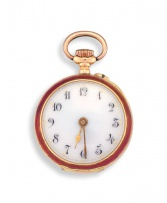Lady's 14ct gold and enamel pocket watch, India