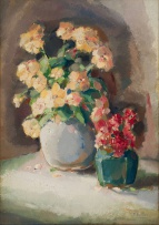 Frans Oerder; Still Life with Two Vases of Flowers, recto; Seated Woman, verso
