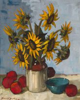 David Botha; Still Life with Sunflowers and Fruit