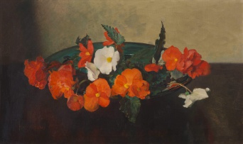 Frans Oerder; Still Life with Cyclamens in a Shallow Green Vessel