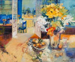 Margaret Gradwell; Still Life with Blue Chair