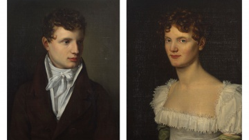 German School 19th Century; Portraits of Jean Baptiste Lievens and His Wife, two
