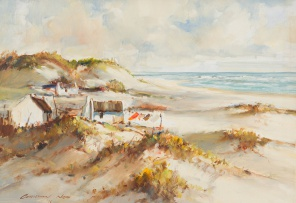 Christiaan Nice; Beach Scene with Cottages