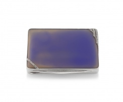 A silver and chalcedony, marcasite-mounted cigarette case, Berthold Hermann Müller Ltd, .925 sterling, with import marks for London 1930
