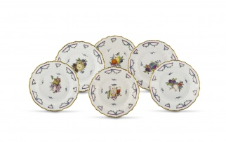 A set of six Fürstenberg cabinet plates, late 18th/early 19th century