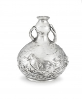 A WMF silvered metal two-handled double gourd vase, 20th century