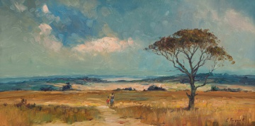 Christopher Tugwell; Two Figures Walking on a Country Road