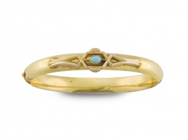 Victorian turquoise and 15ct gold bangle, Birmingham, 1892