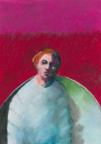 Gregory John Kerr; Composition with Figure and Red Background