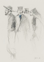 Aileen Lipkin; Four Figures, recto; Unfinished Sketch, verso