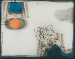 Douglas Portway; Abstract with Orange and Blue
