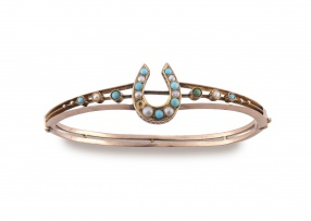 Victorian turquoise and pearl 9ct gold bangle
