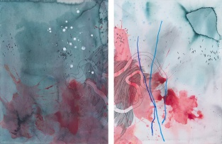 Mongezi Ncaphayi; Abstract Composition, diptych