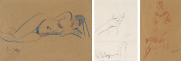 Lippy (Israel-Isaac) Lipshitz; Nude Lying on Side; Two Nudes; Woman Seated on a Chair, three
