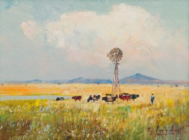 Christopher Tugwell; Landscape with Windmill and Cattle