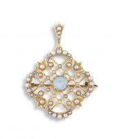 Edwardian seed pearl and aquamarine 15ct gold pendant/brooch