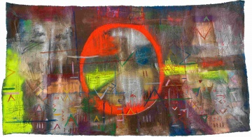 Samson Mnisi; Abstract Composition with Orange Circle